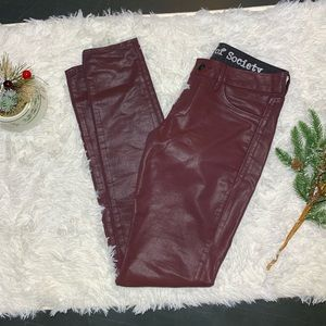 Articles Of Society Red Faux Leather Jeggings